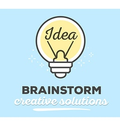 creative light bulb with text on blue bac vector image vector image