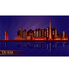 Dubai night city skyline silhouette vector