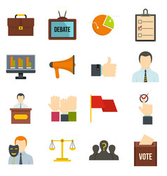Election voting icons set in flat style vector