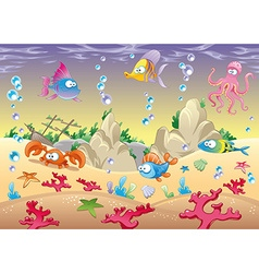 Family of marine animals in the sea vector