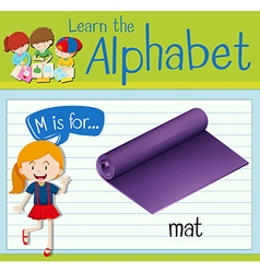 Flashcard letter m is for mat vector