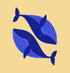 Flat icon on theme save whales whale family vector
