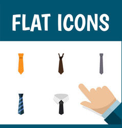 flat icon tie set of clothing textile tie and vector image