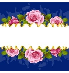 Frame whith pink roses vector