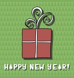 greeting card cute cartoon gift on unusual vector image vector image