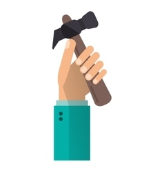 Hand holding hammer tool construction vector
