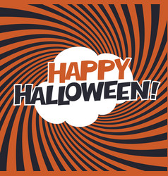Happy halloween typography on orange rays vector