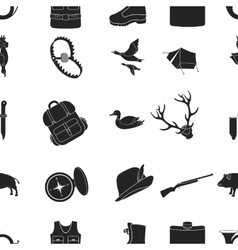 Hunting pattern icons in black style big vector