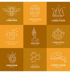 Logos with honey vector