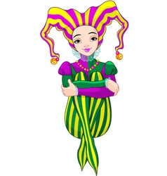 Mardi Gras harlequin lady vector image vector image