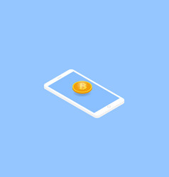 mobile phone and bitcoin isometric vector image vector image