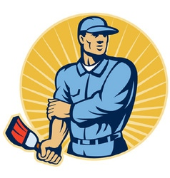 painter worker with paint brush vector image vector image