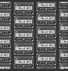 pattern with audio cassette vector image vector image