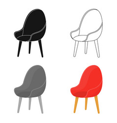 Red oval chair icon in cartoon style isolated on vector