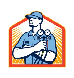 Refrigeration Air Conditioning Mechanic Front vector image