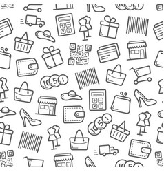 Sale and shopping seamless pattern background vector