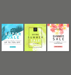 set of summer sale banner templates with tropical vector image vector image