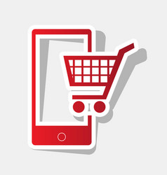 Shopping on smart phone sign new year vector