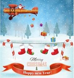 Silhouett Santa Claus sleigh with reindeer fly vector image