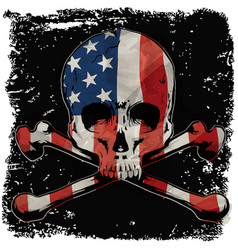 Skull t shirt graphic design with flag vector