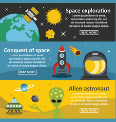 Space travel banner horizontal set flat style vector