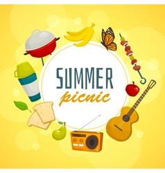 Summer picnic circle concept outdoor holiday vector image vector image