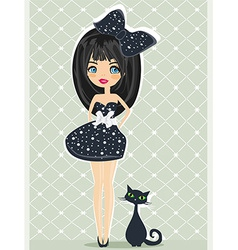 sweet girl and her cat vector image vector image