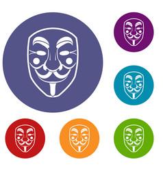 Vendetta mask icons set vector
