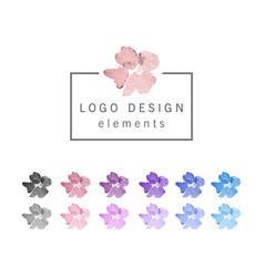 Watercolor flower design elements vector