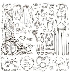 Wedding fashionDoodle bridegroom dresslinear vector image
