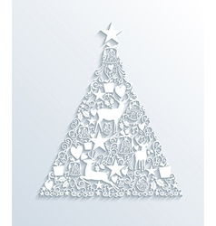 White merry christmas contemporary tree greeting vector