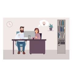 woman sitting at desk with policeman looking at vector image vector image