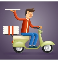 Realistic pizza delivery courier motorcycle vector