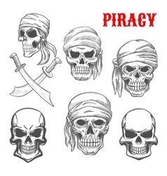 Pirate skulls and crossbones sketch icons vector