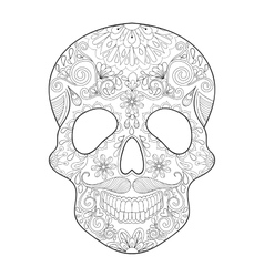 Zentangle stylized skull for halloween freehand vector