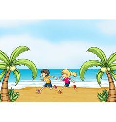 Kids jogging along the seashore vector image