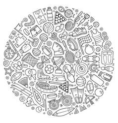 Set of sport cartoon doodle objects vector