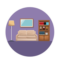 Living room sofa floor lamp furniture books clock vector