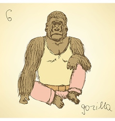 Sketch fancy gorilla in vintage style vector