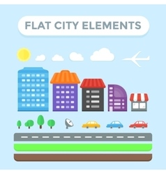 Flat city elements vector