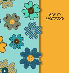 Holiday card or invitation with flower patchworks vector