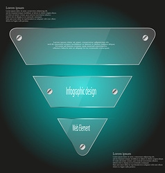 Glass triangle template divided to three parts on vector