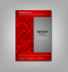 Brochures book or flyer with red squares template vector
