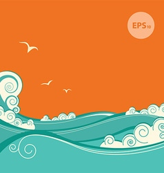 Blue sea waves of seascape vector