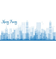 Outline hong kong skyline with blue skyscrapers vector