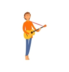 Acoustic guitar player vector