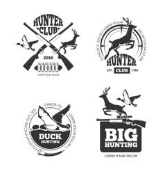 retro vintage hunting labels emblems vector image