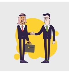 Arab person shaking hands with a businessman vector