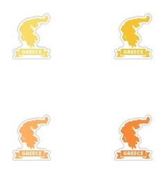 Set of paper stickers on white background greece vector