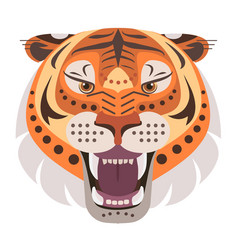 angry tiger head logo decorative emblem vector image vector image